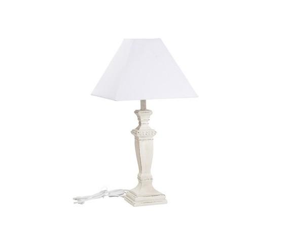 Lampada da tavolo base in legno bianco stile Shabby Chic