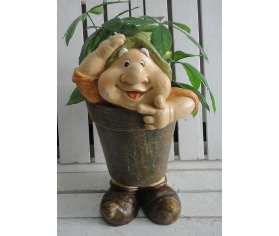 Gnomo decorativo da giardino porta piante cappello verde