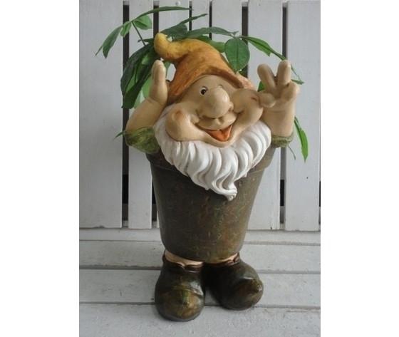 Gnomo decorativo da giardino porta piante cappello arancio