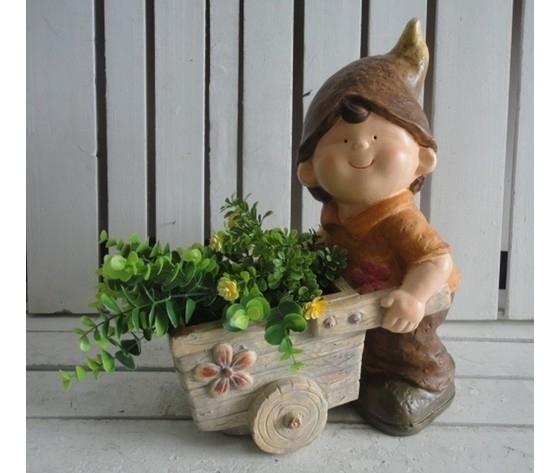 Gnomo decorativo da giardino bambino porta piante con cappello