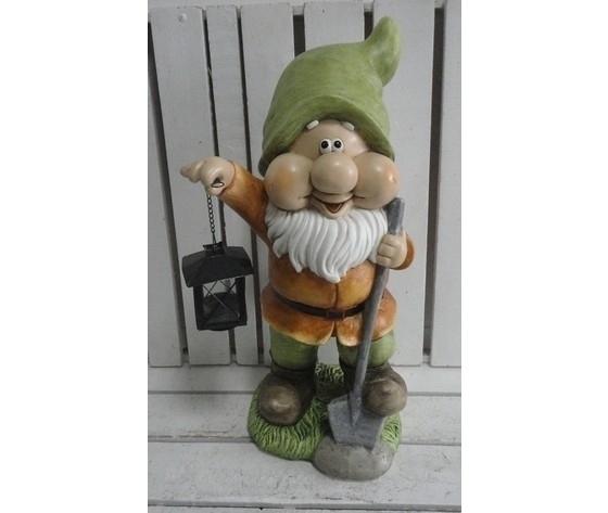 Gnomo decorativo da giardino con lanterna cappello verde