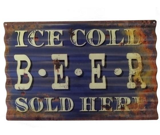 Targa decorativa in metallo beer