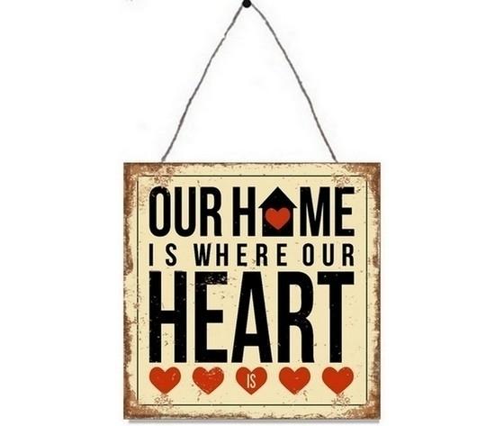 Targa insegna pannello decorativo in metallo home heart