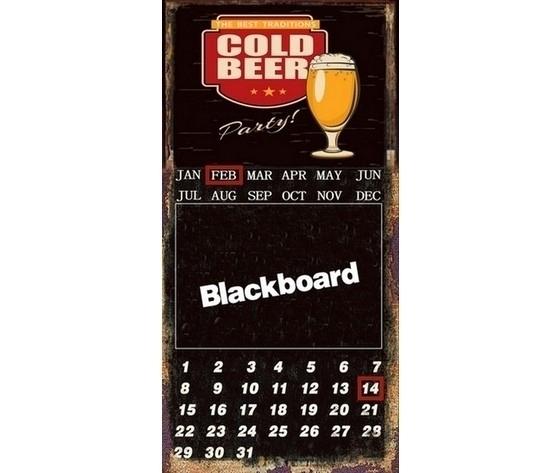 Targa pannello in metallo calendario lavagna birra pub nero