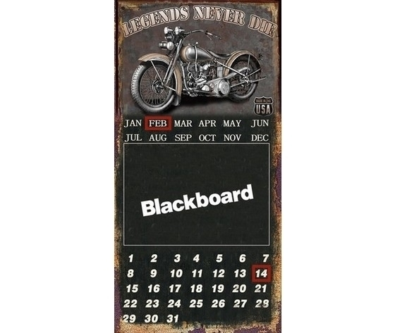 Targa pannello decorativo in metallo lavagna e calendario nero moto