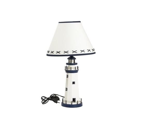 Lampada da tavolo in legno faro bianco e azzurro