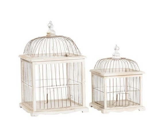 Set 2 gabbie in legno bianco