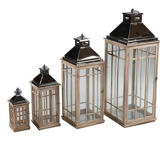Set 4 lanterne in legno e metallo