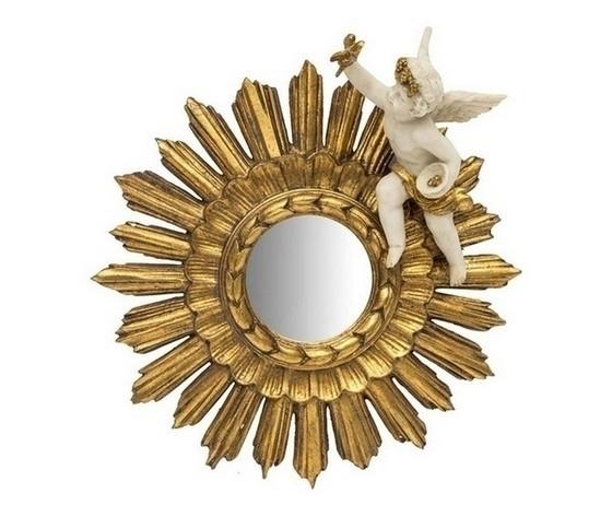 Specchio sole rotondo cornice oro diametro 32cm Stile Barocco