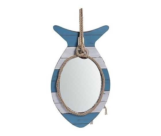 Specchio in legno bianco azzurro 34x4x61cm Stile Marinaro Nautico