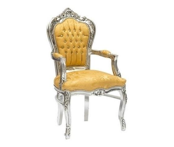 Poltrona barocco argento e oro stile Luigi XV