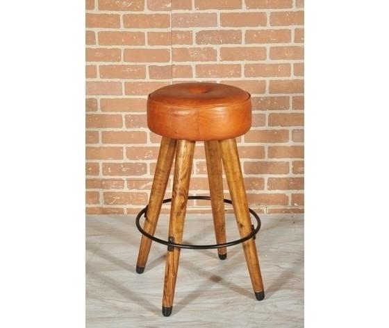 Sgabello rotondo in legno seduta in pelle