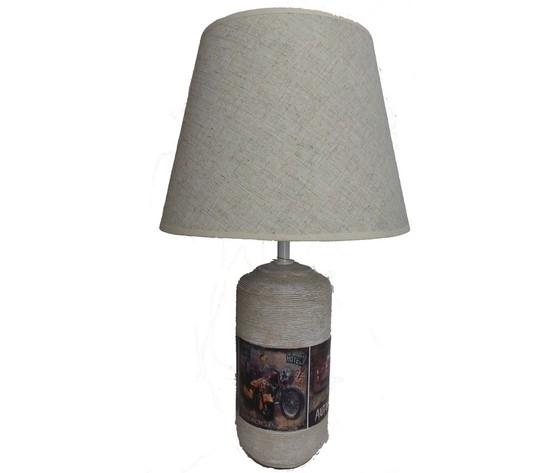 Lampada da tavolo in ceramica paralume in tessuto
