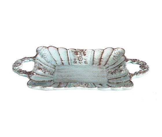 Vassoio rettangolare ceramica turchese