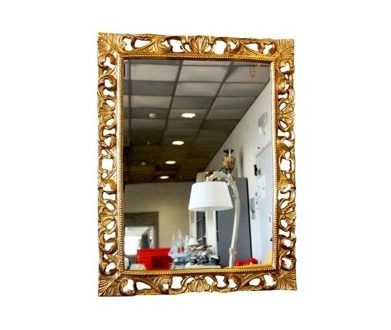 Specchio rettangolare oro 72x7x56cm Stile Barocco