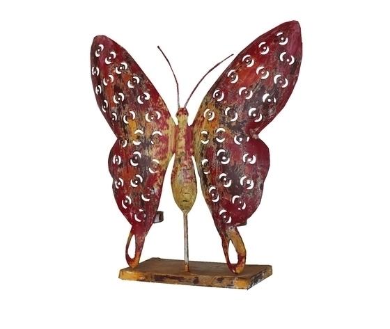 Farfalla in ferro portacandela decorazione da giardino