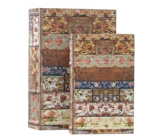 Set 2 scatole porta oggetti fiori