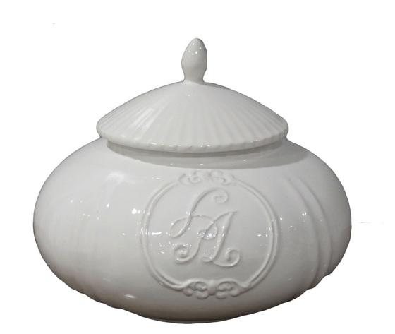 Biscottiera ceramica bianca