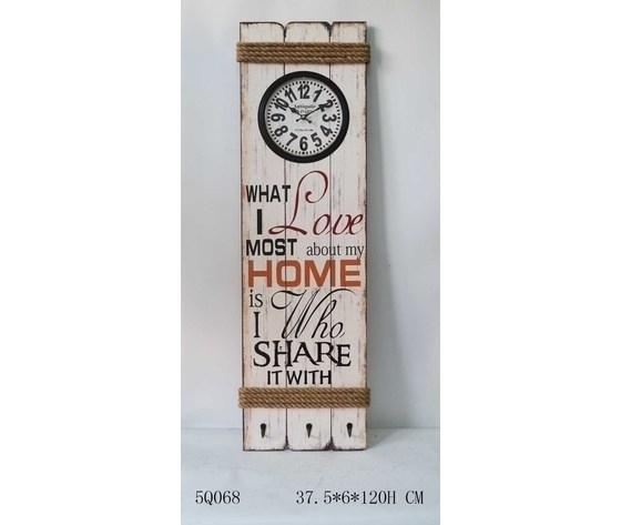Orologio pannello legno Home Love Bianco