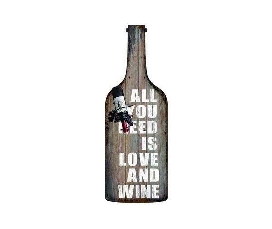 Pannello decorativo in legno forma di bottiglia