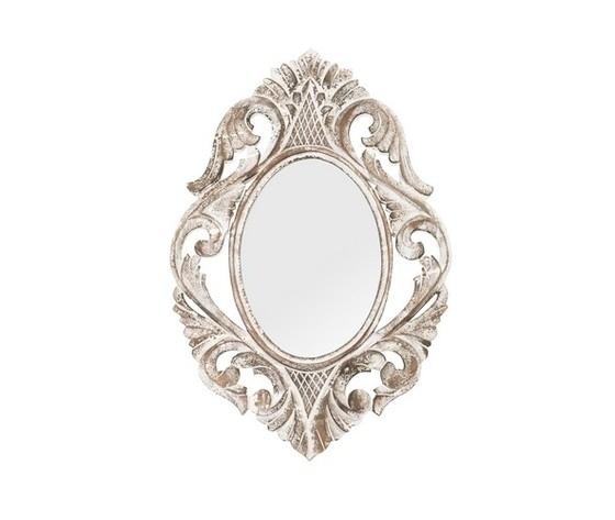 Specchio  da parete cornice legno lavorato bianco anticato 40x2x60cm Stile Shabby Chic