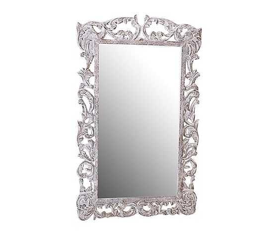 Specchio rettangolare in legno lavorato bianco 92x3x150