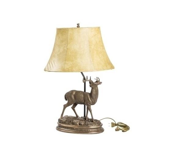 Lampada da tavolo base in bronzo cervo paralume in tessuto