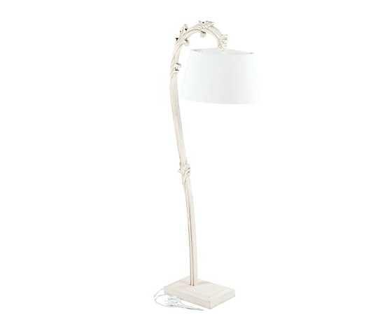 Lampada da terra, stelo curvo legno avorio, paralume bianco, stile Shabby Chic