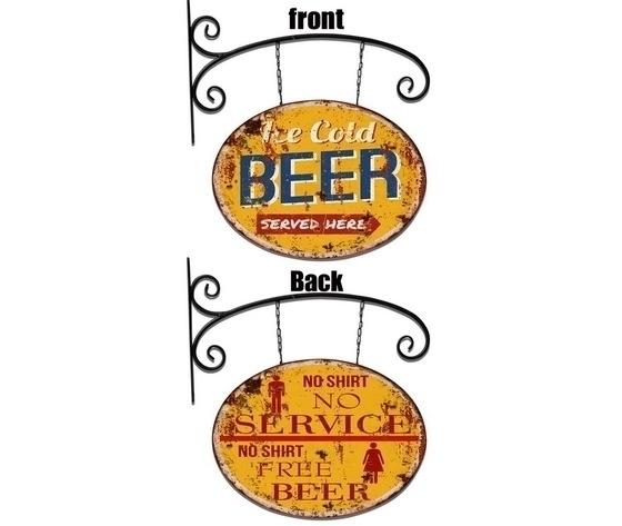 Insegna a braccio in ferro Big Beer targa bifacciale per Pub Bar