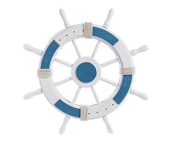 Timone da parete, legno bianco azzurro Stile Marinaro, nautico, barca