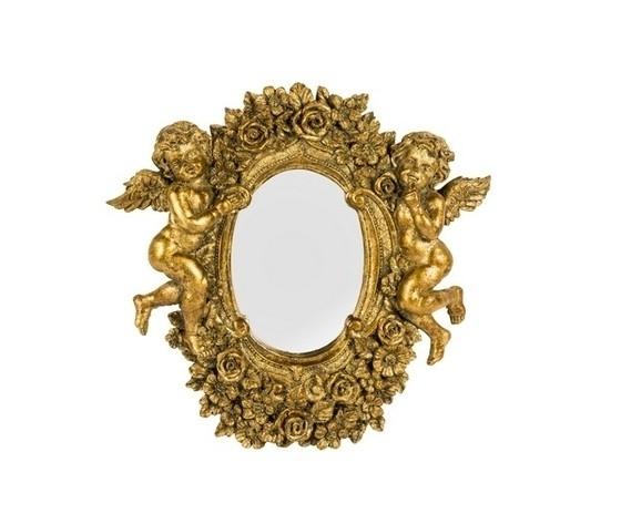 Specchio ovale cornice oro con angeli e rose Stile Barocco
