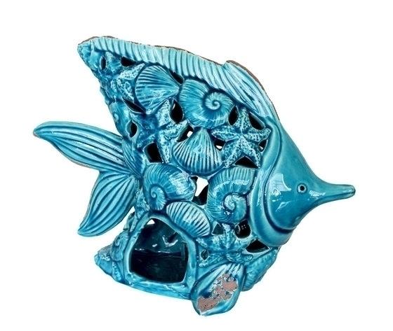 Soprammobile decorativo in ceramica turchese portacandela pesce stellemarine