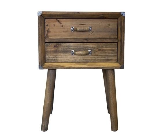 Comodino legno naturale 2 cassetti stile industrial