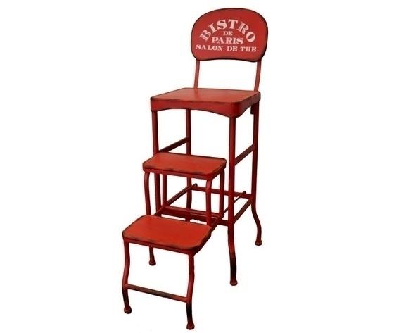 Sgabello scala in ferro rosso decorativo bistr˜