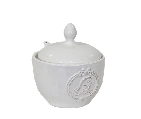 Zuccheriera ceramica bianca