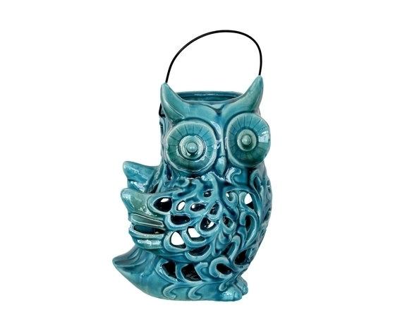 Soprammobile decorativo in ceramica turchese portacandela gufo