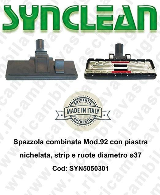 Combinated brush Mod.92 with piastra nichelata, strip e ruote diameter ⌀37 - SYNCLEAN COD: SYN5050301