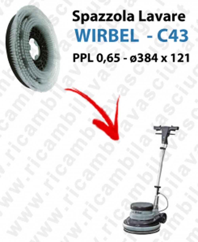 CEPILLO DE LAVADO  para Monodisco WIRBEL C43. modelo: PPL 0,65  ø384 X 121