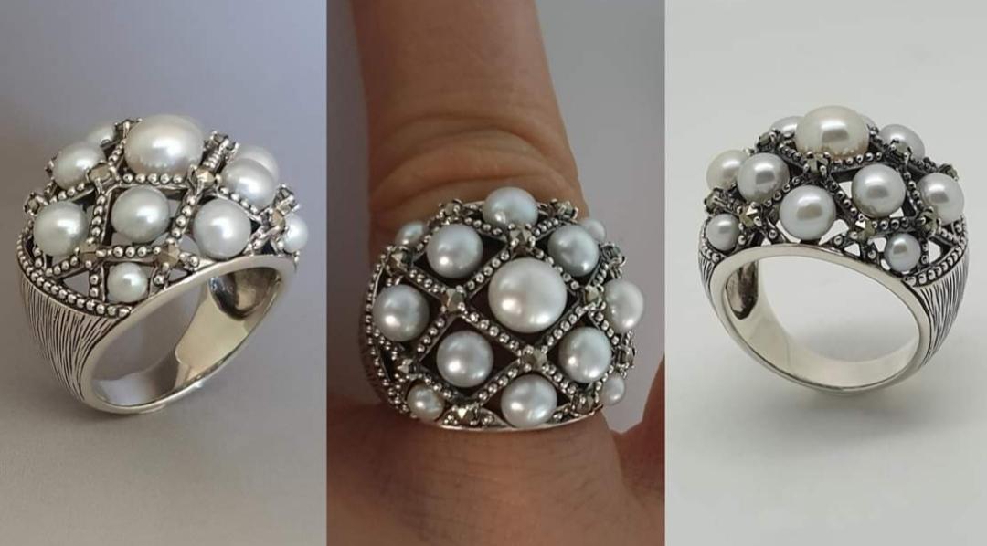 Anello argento 925 con perle