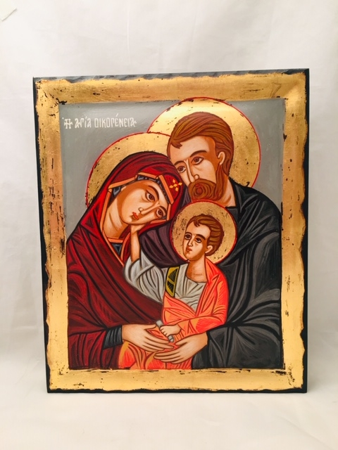 Icona Sacra Famiglia  greca dipintacm.25x30