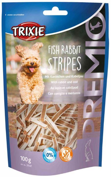 PREMIO Fish Rabbit Stripes - Snack con coniglio e merluzzo per cani