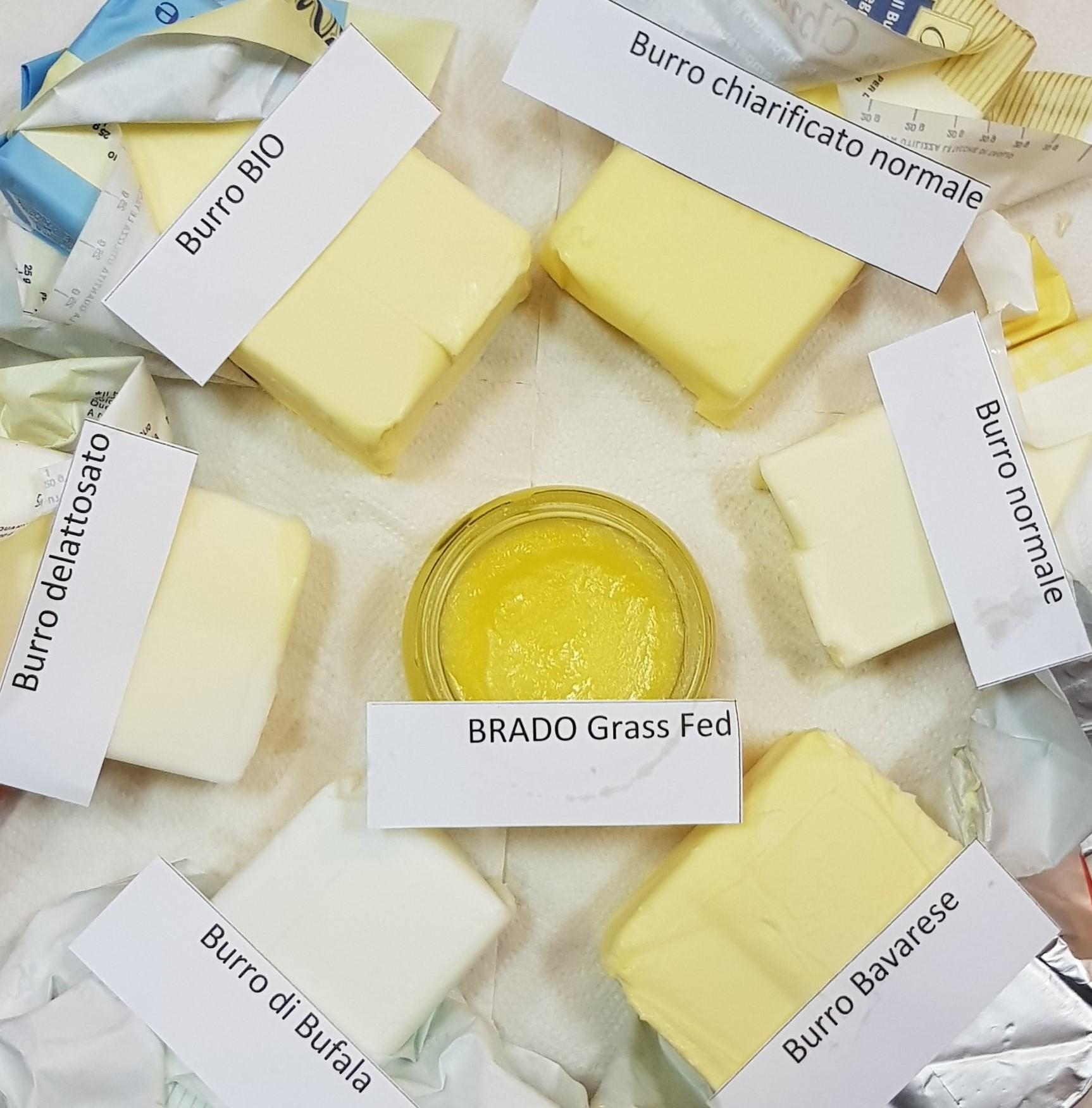 Comparazione dei normali burri in commercio in Italia e BRADO (al centro): una differenza abissale di colore dovuto appunto alla quantità elevata di Vitamina K2 ed altre sostanza nutritive