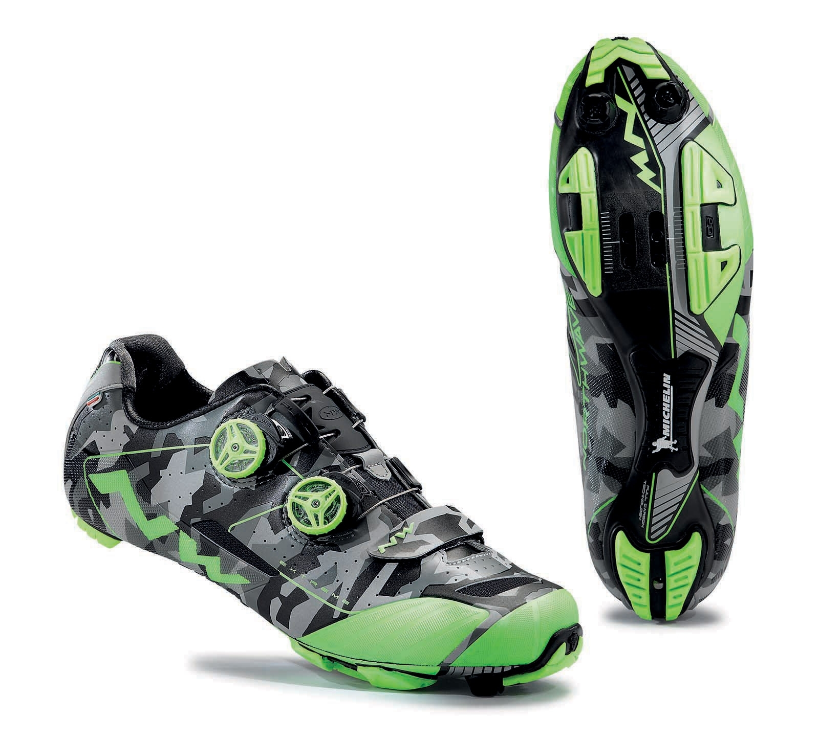 NORTHWAVE Shoes MTB cross country man EXTREME XC camo riflettente/green fluo