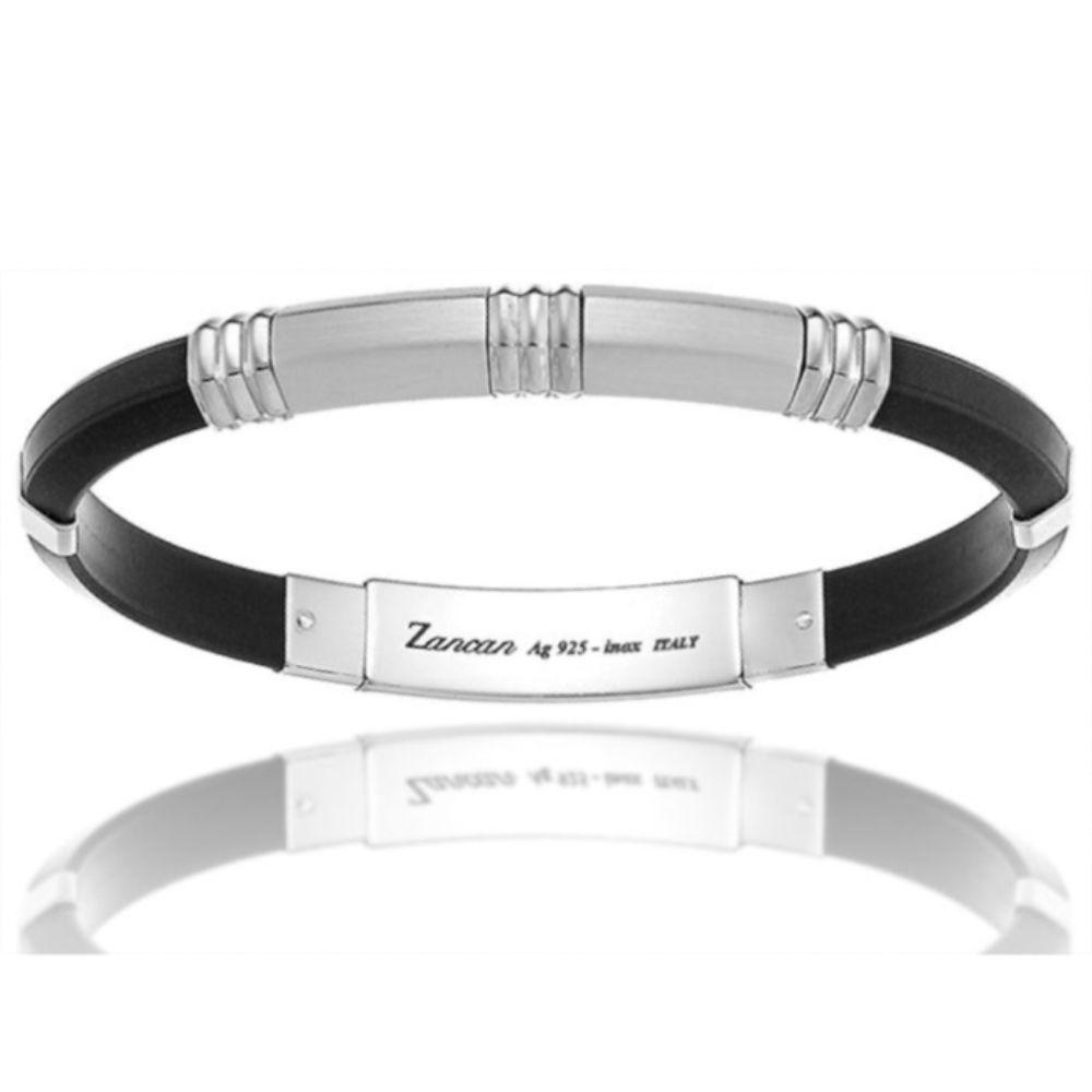Bracciale da uomo, acciaio, argento e silicone, Zancan.