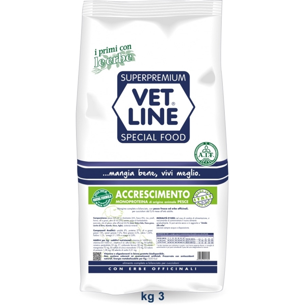 Vet Line Accrescimento Monoproteico  Pesce 3 Kg