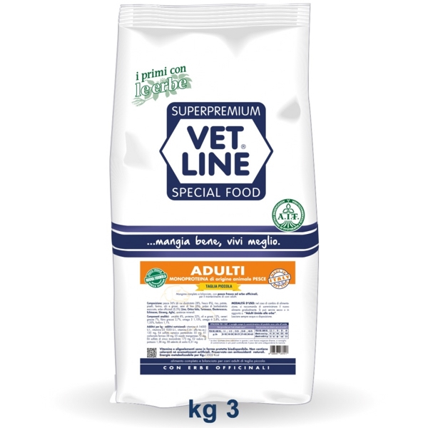 Vet Line Adulti Monoproteico Pesce  Taglia piccola 3 Kg