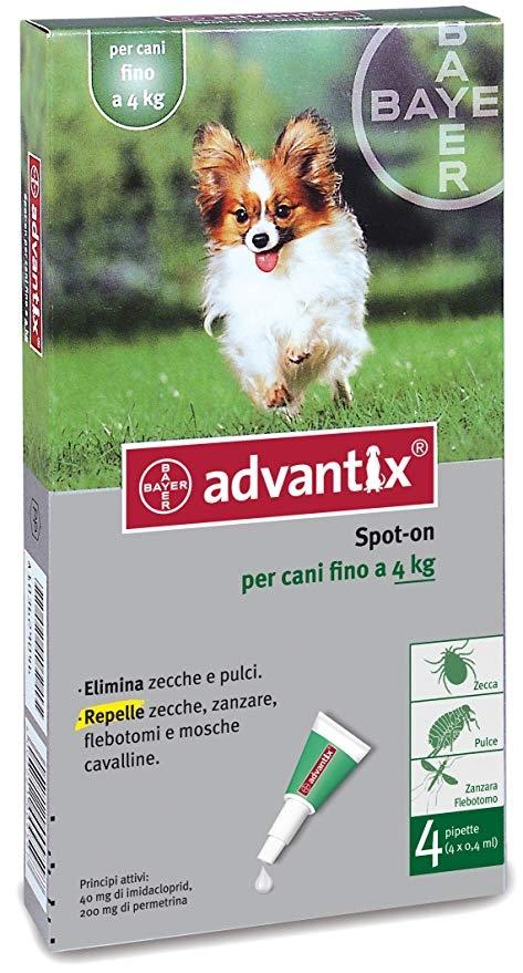 Advantix  per cani di peso fino 4 kg  4 pipette