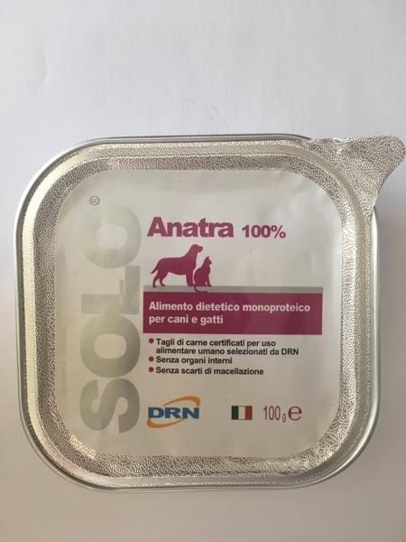 Alimento umido monoproteico  SOLO DRN 100% Anatra confezione 100 gr