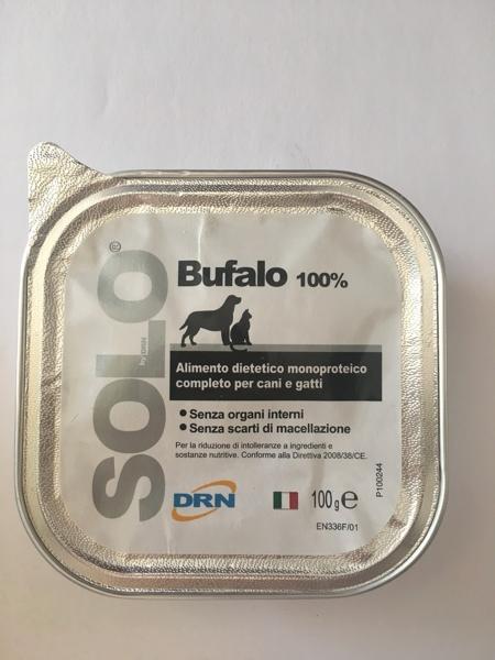 Alimento umido monoproteico  SOLO DRN 100% Bufalo Confezione da 100 gr