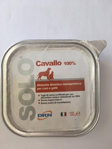 Alimento umido monoproteico  SOLO DRN 100% Cavallo  Confezione da 100 gr